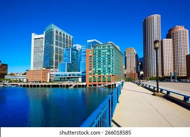 Boston skyline from Seaport boulevard bridge Massachusetts USA