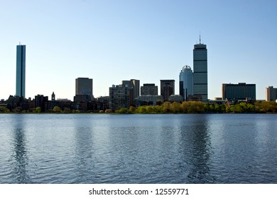 boston skyline as seen from the charles river in massachusetts