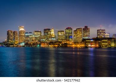 The Boston skyline seen from LoPresti Park at night, in East Boston, Massachusetts.