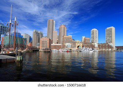 Boston skyline with skyscrapers reflections into the ocean, Massachusetts, USA