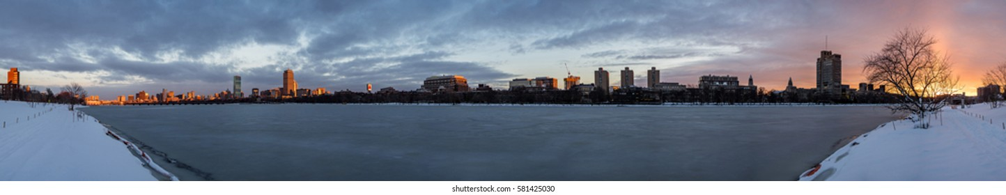 Boston skyline at sunset during winter time