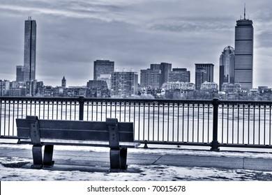 Boston Skyline in the winter. Massachusetts - USA.