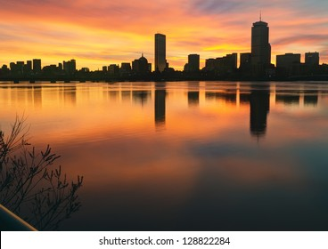 Boston Skyline Winter Sunrise