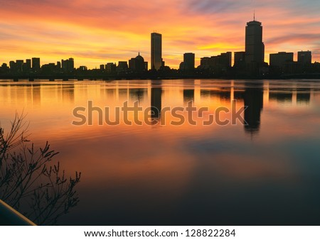 Boston Skyline Winter Sunrise