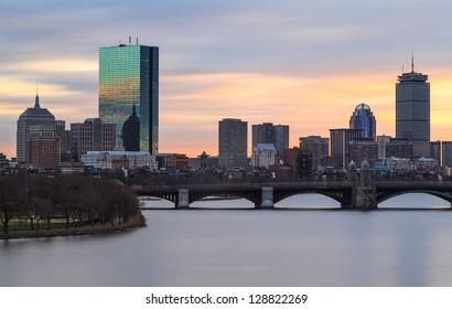 Boston Skyline Winter Sunset