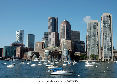 Boston skylines and sailboats on Charles river, Boston, Mass