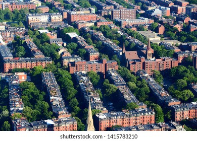 Boston South End aerial view. Residential district near Columbus Avenue.