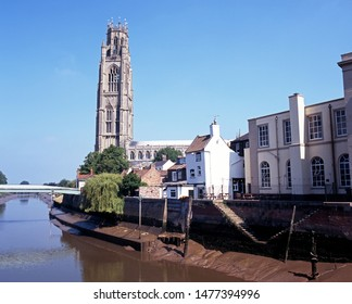 The Boston Stump - St. Botolph's Church – and River Witham, Boston, Lincolnshire, England, UK, Western Europe.