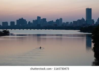 Boston Sunrise from BU Bridge. Charles River Rowing, Boston, MA.