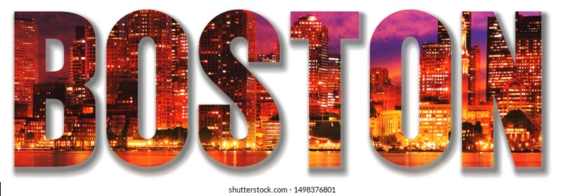Boston text with Image of the City at night inside the text on white background. Small shadow on the text.