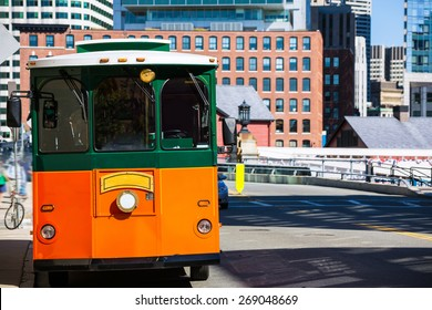 Boston trolley at Congress Street bridge in Massachusetts USA