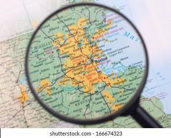 Boston under magnifier