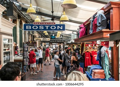 BOSTON UNITED STATES 05.09.2017 -people at outdoor Faneuil Shopping Hall Quincy Market Government Center historic city