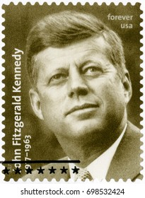 BOSTON, UNITED STATES OF AMERICA - FEBRUARY 20, 2017: A stamp printed in USA shows Portrait of John Fitzgerald Kennedy (1917-1963), 35th president of the United States, 2017