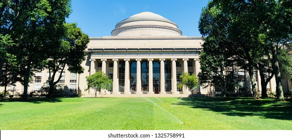 BOSTON, UNITED STATES - Aug 25, 2018: The Face of MIT, Boston, worlds leading university. Just the building without any people.