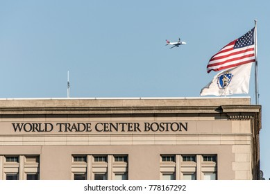 Boston USA 05.09.2017 Seaport World Trade Center building located on the waterfront Commonwealth Pier South Boston