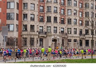 Boston, USA - April 17, 2017: Annual marathon in Boston April 17, 2017
