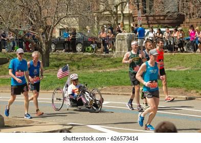 Boston, USA - April 17, 2017: Wheelchair racing contestants at annual marathon in Boston April 17, 2017
