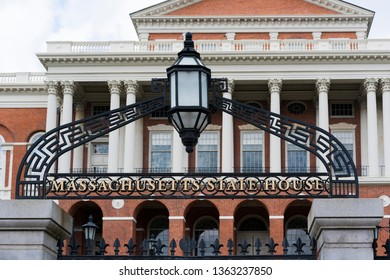 Boston / USA - April 2019: The entry to the Massachusetts State House.
