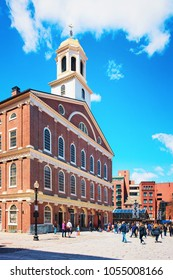 Boston, USA - April 28, 2015: Faneuil Hall in Government Center in downtown of Boston, Massachusetts, the United States. People on the background