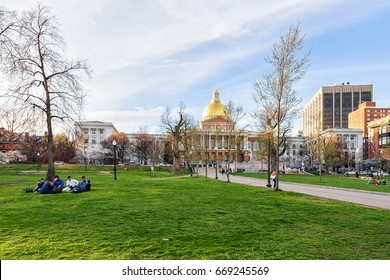 Boston, USA - April 28, 2015: People at State Library of Massachusetts at Boston Common park, MA, America.