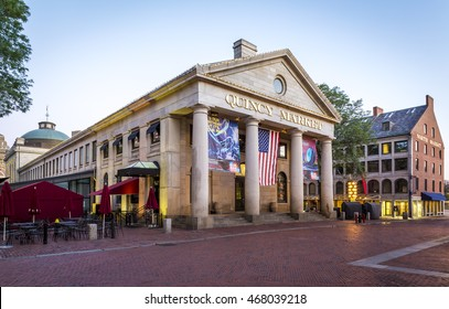 BOSTON, USA - AUGUST 10: view of the architecture of the Quincy Market in Boston, Massachusetts, USA at sunrise on August 10, 2016.