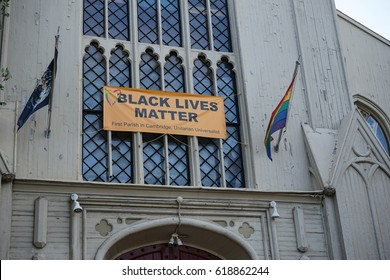BOSTON, USA - AUGUST 14, 2016: Black lives matter message in a church of Boston
