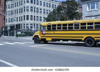 BOSTON, USA - AUGUST 15, 2016: Classical yellow scholar bus