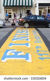 BOSTON, USA - AUGUST 16: The finishing line of the Boston Marathon 2013 became a tourist attraction after the bombing that killed and injured many fans. Seen on August 16, 2013 in Boston, MA, USA.