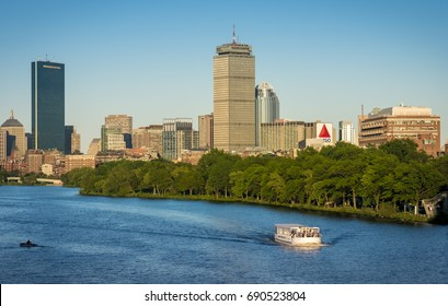 BOSTON, USA - AUGUST 4: Panoramic view of Boston in Massachusetts, USA on a sunny summer day showcasing its mix of contemporary and historic architecture on August 4, 2017.