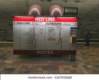 Boston, USA: Dec 12, 2018: Redline MBTA information at Porter Station in Boston. Red Line is a rapid transit line.