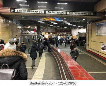 Boston, USA: Dec 12, 2018: Redline Harvard Square Station in Boston. Red Line is a rapid transit line.