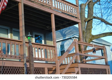 BOSTON, USA - DECEMBER 11: Traditional house in Boston, USA on December 11, 2016.
