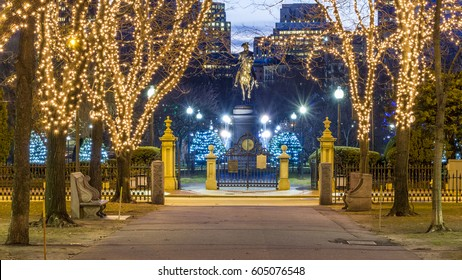 BOSTON, USA - JANUARY 10: Christmas lights at the Boston Commons along the way down Commonwealth Avenue in Boston, Massachusetts, USA at sunrise on January 10, 2017.