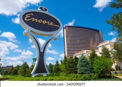 BOSTON, USA - JUL 1, 2019: Encore Boston Harbor in City of Everett, Boston, Massachusetts, USA. This luxury resort and casino was opened on June 23, 2019.