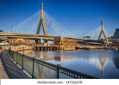 BOSTON, USA - JULY 18: Zakim Bridge, a cable-stayed bridge across the Charles River in Boston, MA is the world's widest cable-stayed bridge with 10 lanes as seen in this photo taken on July 18, 2013.