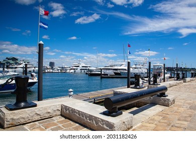 Boston, USA  - July 2 ,2016: Entrance to Boston Waterboat Marina.Located on historic Long Wharf in Boston Harbor, Boston Waterboat Marina is just steps from Faneuil Hall, Quincy Market,