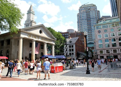 Boston, USA - July 29 2017: Exterior view of the Quincy Market at Harvard Square