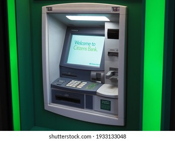 Boston, USA - June 15, 2019: Image of a Citizens Bank ATM.