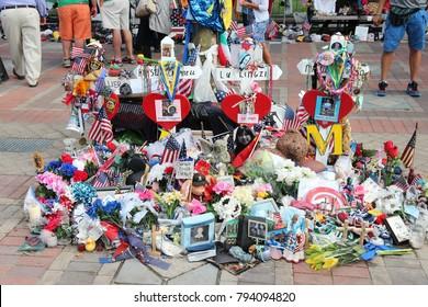 BOSTON, USA - JUNE 8, 2013: Memorial for bombing victims in Boston. Terrorist attack took place during famous Boston Marathon on April 15, 2013.