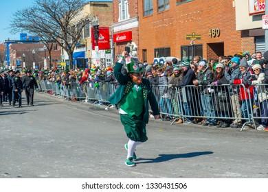 BOSTON, USA - Mar. 18, 2018: Leprechaun in Saint Patrick's Day Parade in Boston, Massachusetts, USA.