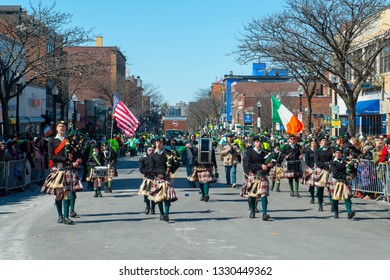 BOSTON, USA - Mar. 18, 2018: Military Bagpipers in Saint Patrick's Day Parade in Boston, Massachusetts, USA.