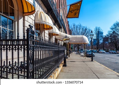 Boston, USA- March 08, 2019:  The popular 1980s sitcom Cheers made the Beacon Hill bar the most famous bar in Boston, maybe in all of the United States