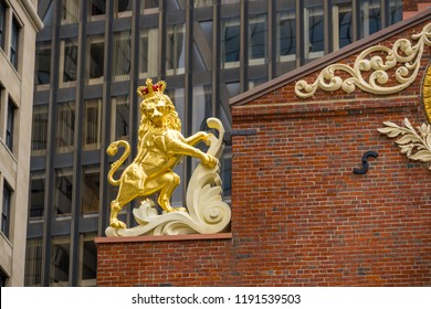 BOSTON, USA - MARCH 10, 2018: The detail of Old State House roof. There is the historic building in central Boston, Massachusetts, USA