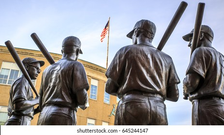 BOSTON, USA - MAY 10: Statue of the most famous basebal player of the Red Sox's history at the Fenway Park Stadium in Boston, Massachusetts, USA on May 10, 2017.