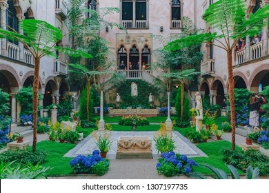 Boston, USA: May 27, 2017: Interior view of the inner courtyard and garden of Isabella Stewart Gardner Museum in Boston