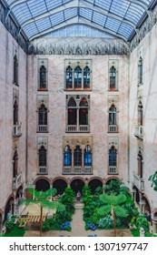 Boston, USA: May 27, 2017: Interior view of the inner courtyard and garden of Isabella Stewart Gardner Museum in Boston