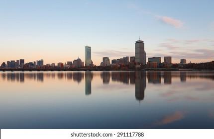 Boston, USA - November 25, 2014: Boston Skyline Showing Charles River and John Hancock Building at Sunset, Boston, Massachusetts
