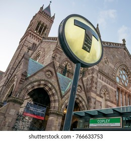 BOSTON, USA - NOVEMBER 27: The symbol of the transportation system in Boston, MA, USA, the T, marking the entrance of a subway station at Copley Square in Boston Back Bay on November 27, 2017.