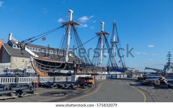 BOSTON, USA - November 30, 2016:  USS Constitution - Boston, Massachusetts, USA